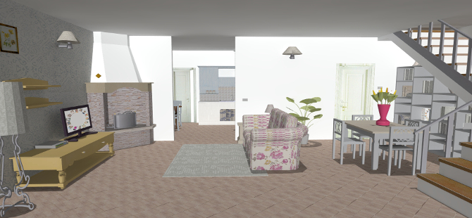 Progetto di arredamento cucina e soggiorno for Arredamento interni