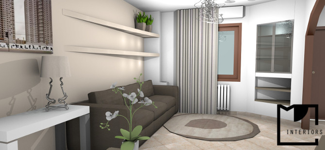 Progettazione di interni soggiorno for Pitture murali interni